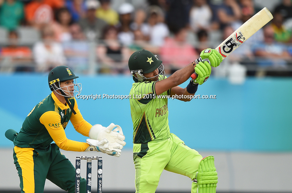 Umar Akmal batting during the ICC Cricket World Cup 2015 match between South Africa and Pakistan at Eden Park, Auckland. Saturday 7 March 2015. Copyright Photo: Andrew Cornaga / www.Photosport.co.nz