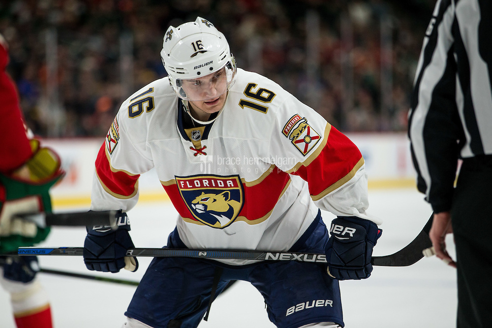 Dec 13, 2016; Saint Paul, MN, USA; Florida Panthers forward Aleksander Barkov (16) against the Minnesota Wild at Xcel Energy Center. The Wild defeated the Panthers 5-1. Mandatory Credit: Brace Hemmelgarn-USA TODAY Sports