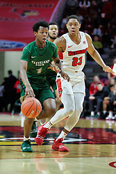 NORMAL, IL - December 16: Tyree Appleby defended by William Tinsley during a college basketball game between the ISU Redbirds and the Cleveland State Vikings on December 16 2018 at Redbird Arena in Normal, IL. (Photo by Alan Look)