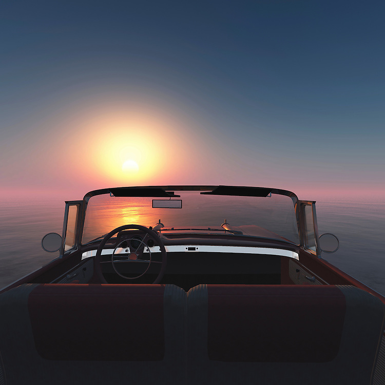 A convertible Chevrolette belair at the sea with a sunset.