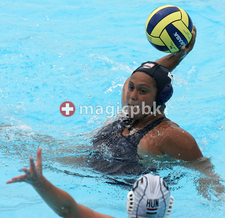 USA's Brenda Villa shoots and scores over Hungary's Mercedes Steiber (R) during their preliminary round women's water polo match at the FINA World Championships in Montreal, Quebec Tuesday 19 July, 2005.  (Photo by Patrick B. Kraemer / MAGICPBK)