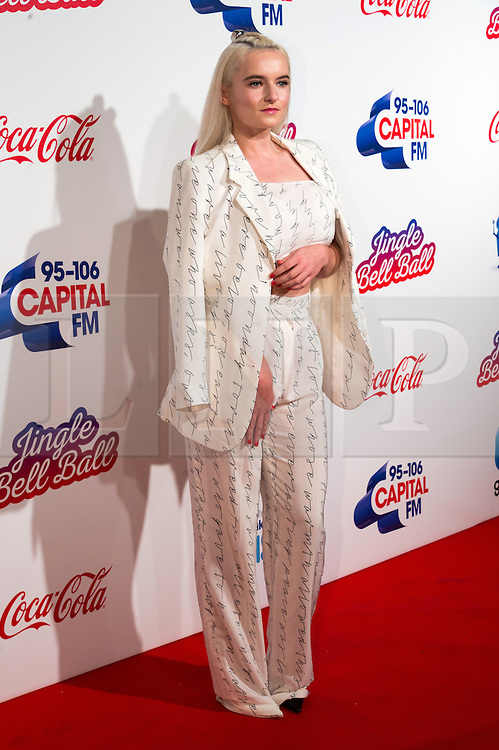 © Licensed to London News Pictures. 03/12/2016. GRACE CHATTO of CLEAN BANDIT attends Capital's Jingle Bell Ball with Coca-Cola at London's O2 Arena London, UK. Photo credit: Ray Tang/LNP