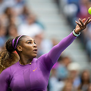 2019 US Open Tennis Tournament- Day Thirteen.    Serena Williams of the United States serving against Bianca Andreescu of Canada in the Women's Singles Final on Arthur Ashe Stadium during the 2019 US Open Tennis Tournament at the USTA Billie Jean King National Tennis Center on September 7th, 2019 in Flushing, Queens, New York City.  (Photo by Tim Clayton/Corbis via Getty Images)
