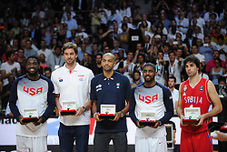 Kenneth Faried of USA, Pau Gasol of Spain, Nicolas Batum of France,  Kyrie Irving of USA and Milos Teodosic of Serbia as all star five players after the 2014 FIBA World Basketball Championship Final match between USA and Serbia at the Palacio de los Deportes, on September 14, 2014 in Madrid, Spain. Photo by Tom Luksys  / Sportida.com <br /> ONLY FOR Slovenia, France