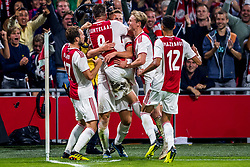 14-08-2018 NED: Champions League AFC Ajax - Standard de Liege, Amsterdam<br /> Third Qualifying Round,  3-0 victory Ajax during the UEFA Champions League match between Ajax v Standard Luik at the Johan Cruijff Arena / Matthijs de Ligt #4 of Ajax scores the 2-0, Daley Blind #17 of Ajax, Klaas Jan Huntelaar #9 of Ajax, Frenkie de Jong #21 of Ajax