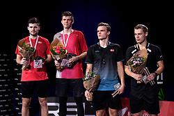 DK:<br /> 20190209, &Aring;rhus, Danmark:<br /> Badminton Danmark FZ Forza/RSL DM 2019. <br /> Herre Double: Guldvindere Lasse M&oslash;lhede og Mathias Bay-Schmidt vs. S&oslash;lvvindere David Daugaard og Frederik S&oslash;gaard<br /> Foto: Lars M&oslash;ller<br /> UK: <br /> 20190209, Aarhus, Denmark:<br /> Badminton Danmark FZ Forza/RSL DM 2019.<br /> Herre Double: Guldvindere Lasse M&oslash;lhede og Mathias Bay-Schmidt vs. David Daugaard og Frederik S&oslash;gaard<br /> Photo: Lars Moeller