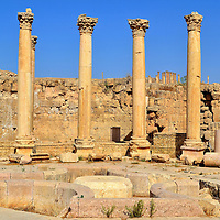 Macellum Food Market in Ancient Jerash, Jordan<br /> In ancient Greece, an agora was a public space used as a food market. The Macellum along the Cardo (main street) in the center of Gerasa was basically a grocery store but there was nothing basic about it. Surrounding the fountain in the center court is a very ornate colonnade with capitals of the Corinthian order.  It is believed the Macellum was constructed during the 1st century and then significantly expanded in the mid-2nd century. Further renovations occurred during the Byzantine era in the late 5th and early 6th centuries. It continued to house food merchants until sometime in the 6th century when its purpose took on more of a commercial or industrial use.  For unknown reasons, it was destroyed during the early 7th century.