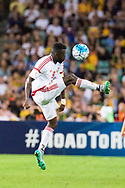 March 28 2017: United Arab Emirates Ahmed BARMAN (9) up after the ball at the 2018 FIFA World Cup Qualification match, between The Socceroos and UAE played at Allianz Stadium in Sydney.