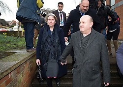 © Licensed to London News Pictures. 02/03/2016. Ampthill, UK. ALISON and RAY JOHNSON (front) leave a pre-inquest review into the death of their son Conservative party activist Elliott Johnson in Ampthill, Bedfordshire. Mr Johnson was found dead on a railway line in Bedfordshire a few weeks after he raised concerns about the way he had been treated in the Conservative youth wing. Photo credit: Peter Macdiarmid/LNP