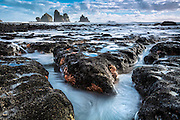 At low tide, this beach is transformed into a magical world, as a colony of Reef Starfish (Stichaster australis) emerges.<br /> Taken along the west coast of New Zealand's South Island.