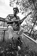 Sugar (as people call him) plays his banjo and sings Day-O every day for the enjoyment of tourists in the Paseo Esteban Huertas in Las Bovedas, Casco Viejo, Panama.