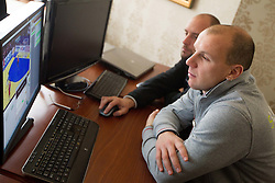 Gorazd Skof and Matevz Gladek of Slovenia Men Handball team during 3rd day of 10th EHF European Handball Championship Serbia 2012, on January 17, 2012 in Hotel Srbija, Vrsac, Serbia.  (Photo By Vid Ponikvar / Sportida.com)