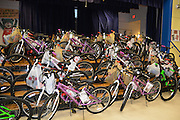 100 bicycles were presented to Steven ES students for excellent academics, conduct, and attendance.