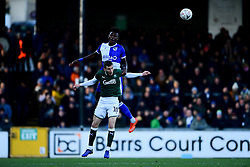 Rollin Menayese of Bristol Rovers contends for the aerial ball with Danny Mayor of Plymouth Argyle - Mandatory by-line: Ryan Hiscott/JMP - 01/12/2019 - FOOTBALL - Memorial Stadium - Bristol, England - Bristol Rovers v Plymouth Argyle - Emirates FA Cup second round