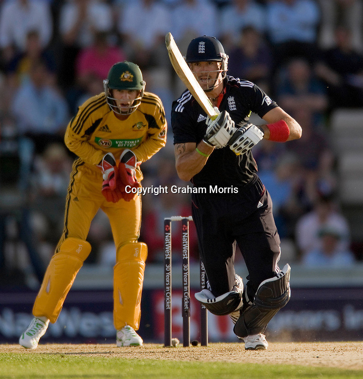 Kevin Pietersen bats during the first (day/night) one day international between England and Australia at the Rose Bowl, Southampton.  Photo: Graham Morris (Tel: +44(0)20 8969 4192 Email: sales@cricketpix.com) 22/06/10
