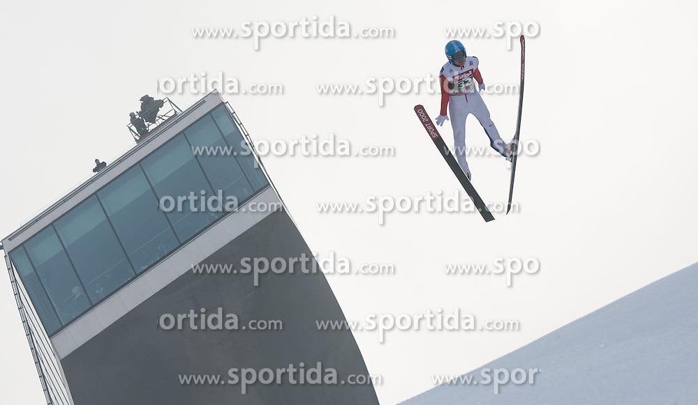 03.01.2015, Bergisel Schanze, Innsbruck, AUT, FIS Ski Sprung Weltcup, 63. Vierschanzentournee, Innsbruck, Training, im Bild Ilmir Hazetdinov (RUS) // Ilmir Hazetdinov of Russia soars through the air during a training session for the 63rd Four Hills Tournament of FIS Ski Jumping World Cup at the Bergisel Schanze in Innsbruck, Austria on 2015/01/03. EXPA Pictures © 2015, PhotoCredit: EXPA/ Jakob Gruber