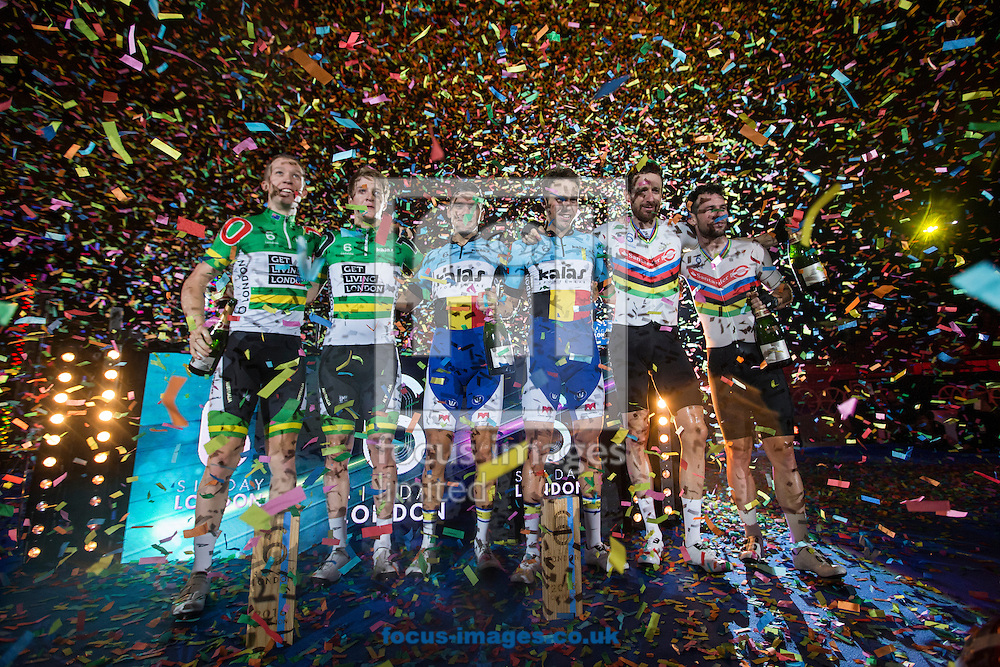 Confetti blows high into the air as (left to right) Cameron Mayer, Callum Scotson, Kenny De Ketele, Moreno De Pauw, Sir Bradley Wiggins and Mark Cavendish celebrate  on day six of the Six Day cycling series at Lee Valley VeloPark, London, UK<br /> Picture by Ryan Dinham/Focus Images Ltd +44 7900 436859<br /> 30/10/2016