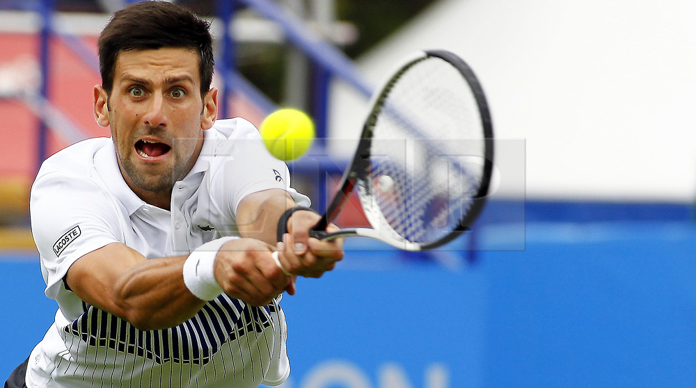&copy; London News Pictures. 28/06/2017. Novak Djokovic v Vasek Pospisil at Aegon International Tennis Eastbourne<br /> Djokovic won the match 6.4 6.3. Photo credit: Sean Aiden/LNP