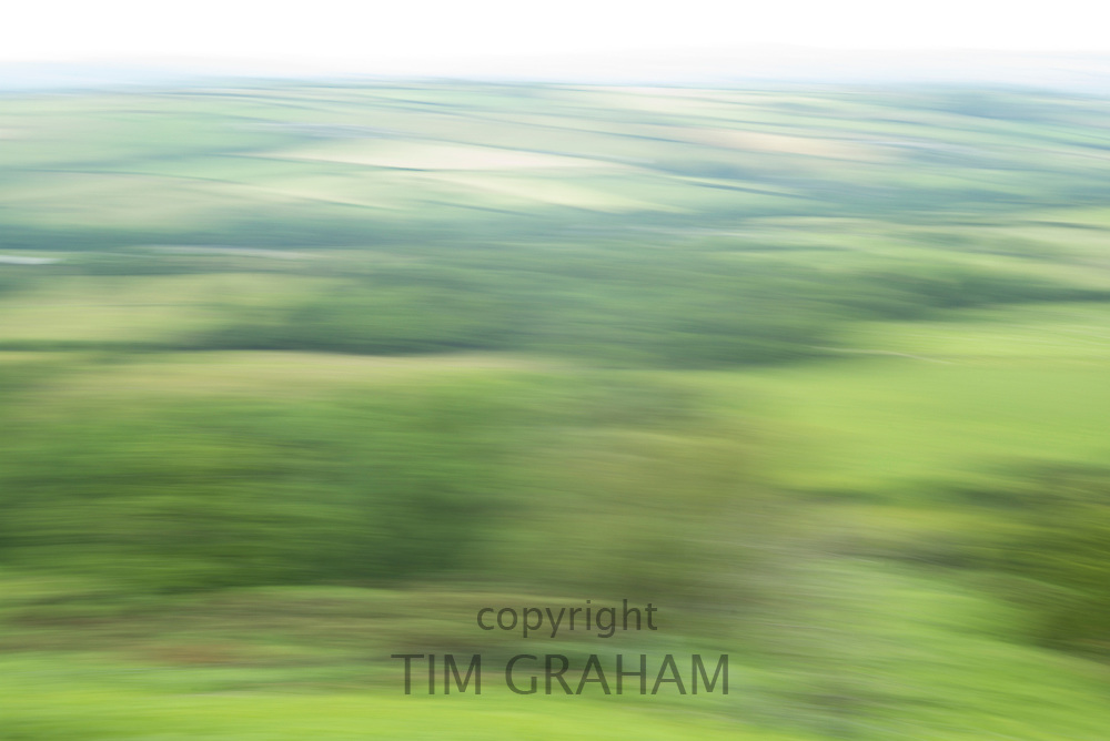 Impressions of nature - lush green landscape as abstract blur landscape in the UK
