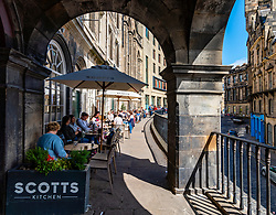 Scotts Restaurant on Victoria Terrace in Edinburgh Old Town, Scotland, UK