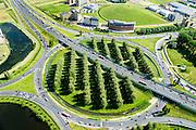 Nederland, Gelderland, Gemeente Arnhem, 09-06-2016; knooppunt Velperbroek, A12 Arnhem Duitsland en A345 en N325.<br /> Velperbroek junction, near Arnhem<br /> luchtfoto (toeslag op standard tarieven);<br /> aerial photo (additional fee required);<br /> copyright foto/photo Siebe Swart