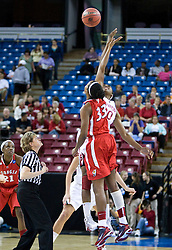 March 27, 2010; Sacramento, CA, USA; Stanford Cardinal forward Nnemkadi Ogwumike (30) and Georgia Bulldogs forward Angel Robinson (33) battle for the opening tip off during the first half in the semifinals of the Sacramental regional in the 2010 NCAA womens basketball tournament at ARCO Arena. Stanford defeated Georgia 73-36.