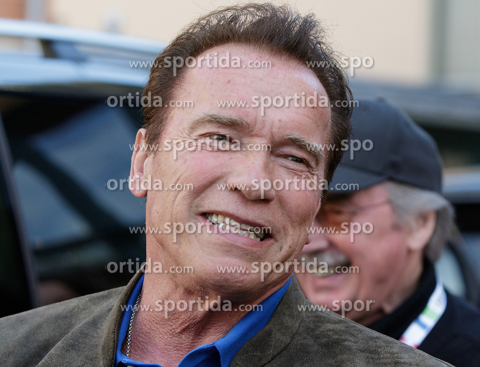 23.03.2017, Sporthotel Royer, Schladming, AUT, Special Olympics 2017, Wintergames, Arnold Schwarzenegger besucht die Spiele, im Bild Arnold Schwarzenegger, der lacht // during the Special Olympics World Winter Games Austria 2017 in Schladming, Austria on 2017/03/23. EXPA Pictures © 2017, PhotoCredit: EXPA / Martin Huber