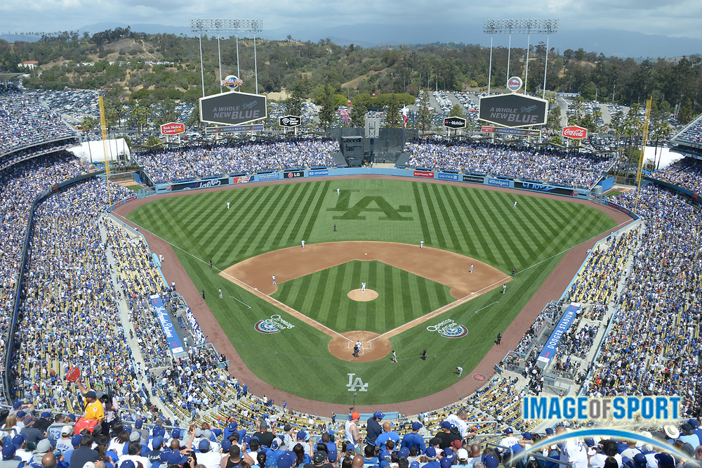 Apr 1, 2013; Los Angeles, CA, USA; General view of Dodger Stadium during the 2013 season-opening game between the San Francisco Giants and the Los Angeles Dodgers.