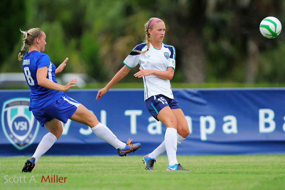 VSI Tampa Bay midfielder Lindsey Cooper (15) in action against the Charlotee Lady Eagles in a USL W-League soccer match at Plant City stadium in Plant City, Florida on June 7, 2013.<br /> <br /> &copy;2013 Scott A. Miller