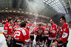 Team HDD Jesenice after winning national champinship in ice hockey match between HDD SIJ Acroni Jesenice and HDD Telemach Olimpija in 4th leg of Finals of Slovenian National Championship 2014/2015, on April 15, 2015 in Podmezakla, Jesenice, Slovenia. Photo by Grega Valancic / Sportida
