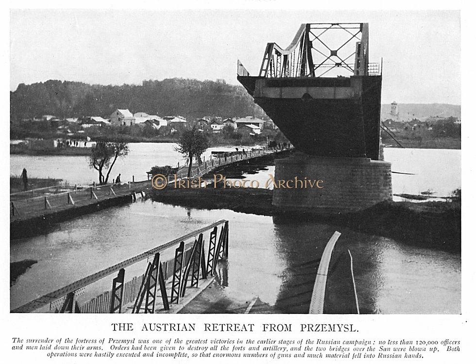 Destruction of Przemysl by Austrians retreating from Russian advance. Remains of one of two bridges over the San which were blown up. World War I