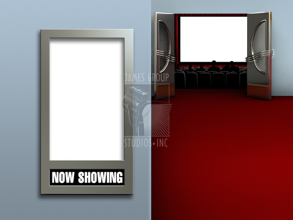 Interior of a movie theatre showing a blank movie poster frame and a blank movie screen with an audience