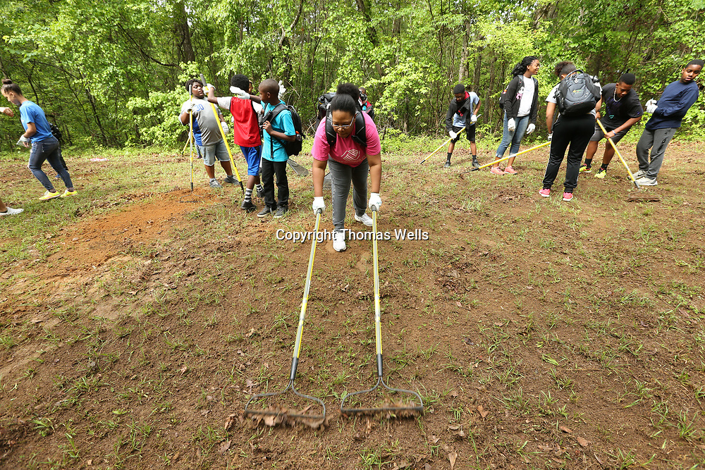 Tameka Luster of Ripely helps speed the process along by using two rakes to help clear a patch of land for new seeds at Tombigbee State Part as part of the Toyota's Adevnture Campout for youth from the Boys and Girls Club of North Mississippi