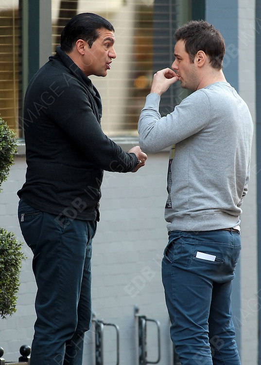 11.APRIL.2012. LONDON<br /> <br /> DANNY DYER AND TAMER HASSAN SMOKING IN SOHO<br /> <br /> BYLINE: EDBIMAGEARCHIVE.COM<br /> <br /> *THIS IMAGE IS STRICTLY FOR UK NEWSPAPERS AND MAGAZINES ONLY*<br /> *FOR WORLD WIDE SALES AND WEB USE PLEASE CONTACT EDBIMAGEARCHIVE - 0208 954 5968*