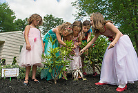 "Boys and Girls Clubs' ""Fairies"" Hannah, Elizabeth, Madi, Reese and Kimmy made a special appearance at Robert King and Elaine Muller's home Friday afternoon to add sparkle to their fairy houses displayed among the gardens that will be part of Opechee Garden Club's annual ""Awesome Blossoms""  Garden Tour on Saturday.   (Karen Bobotas/for the Laconia Daily Sun)"