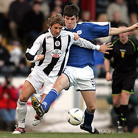 St Mirren v St Johnstone..12.02.05<br />Sean Webb tackles Alan Russell<br /><br />Picture by Graeme Hart.<br />Copyright Perthshire Picture Agency<br />Tel: 01738 623350  Mobile: 07990 594431