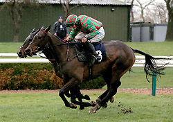 Cougar's Gold ridden by James Bowen (right) clears the last hurdle and wins the H Brown & Son Recycling Handicap Steeple Chase race at Uttoxeter Racecourse.