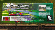Interpretive sign at the Armstrong Lawn,  Christchurch Botanic Gardens, Christchurch, Canterbury, South Island, New Zealand