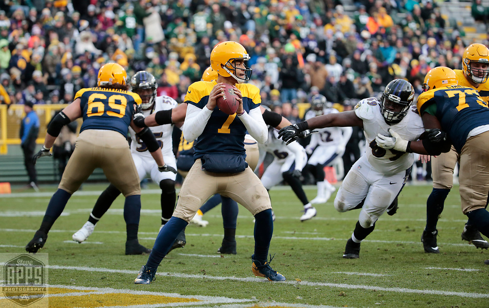 Green Bay Packers quarterback Brett Hundley (7) before throwing an interception late in the 4th quarter. <br /> The Green Bay Packers hosted the Baltimore Ravens at Lambeau Field Sunday, Nov. 19, 2017. The Packers lost 23-0. STEVE APPS FOR THE STATE JOURNAL.
