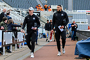 Ciaran Clark (#2) of Newcastle United and Jamaal Lascelles (#6) of Newcastle United arrive ahead of the Premier League match between Newcastle United and Liverpool at St. James's Park, Newcastle, England on 4 May 2019.