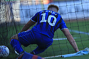 GOAL Callum Camps ends up in the net with the ball 1-2 during the EFL Sky Bet League 1 match between Rochdale and Walsall at Spotland, Rochdale, England on 25 August 2018.