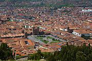 Overview of city, Saksaywaman, Incan archaelogical site, Cusco, Urubamba Province, Peru
