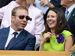 Image licensed to i-Images Picture Agency. 06/07/2014. London, United Kingdom. British former Olympian cyclist Sir Chris Hoy  and his wife Lady Sarra in the Royal Box  at the Wimbledon Men's Final.  Picture by Andrew Parsons / i-Images