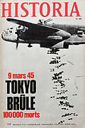 Front cover of issue no. 280 of Historia, a monthly history magazine, published March 1970, featuring an article on the bombing of Tokyo on 9th March 1945. Historia was created by Jules Tallandier and published 1909-37 and again from 1945. Picture by Manuel Cohen
