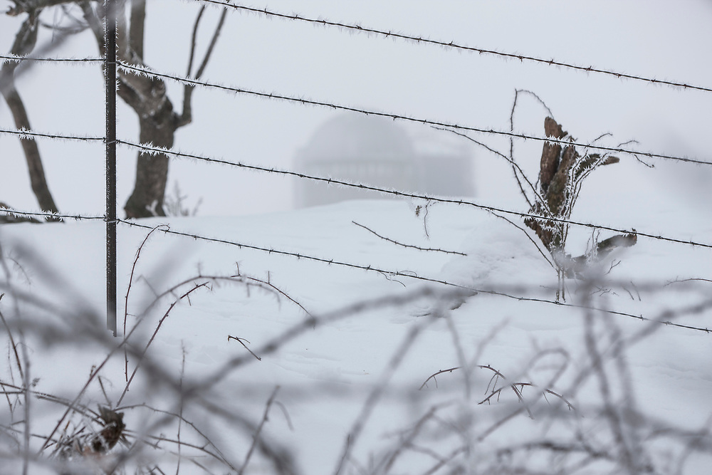Foggy winter day, with rime frost built up on barb wire fence