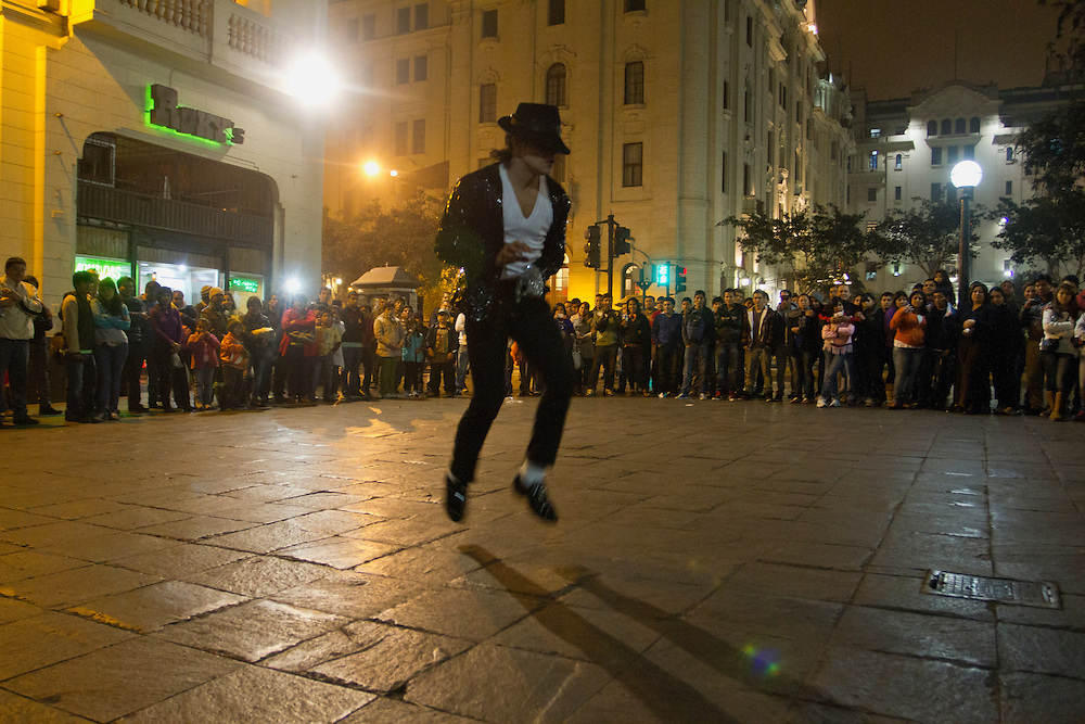 A Miachael Jackson imitator performs at Plaza de Armas in Lima, Peru.