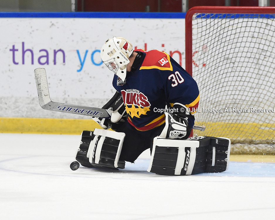 WHITBY, ON  - SEP 24,  2017: Ontario Junior Hockey League game between the Whitby Fury and the Wellington Dukes, Jonah Capriotti #30 of the Wellington Dukes makes the save during the second period. <br /> (Photo by Andy Corneau / OJHL Images)