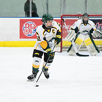5th year defender Alexis Larson (22) of the Regina Cougars  in action during the Women's Hockey home game on January 7 at Co-operators arena. Credit: Arthur Ward/Arthur Images