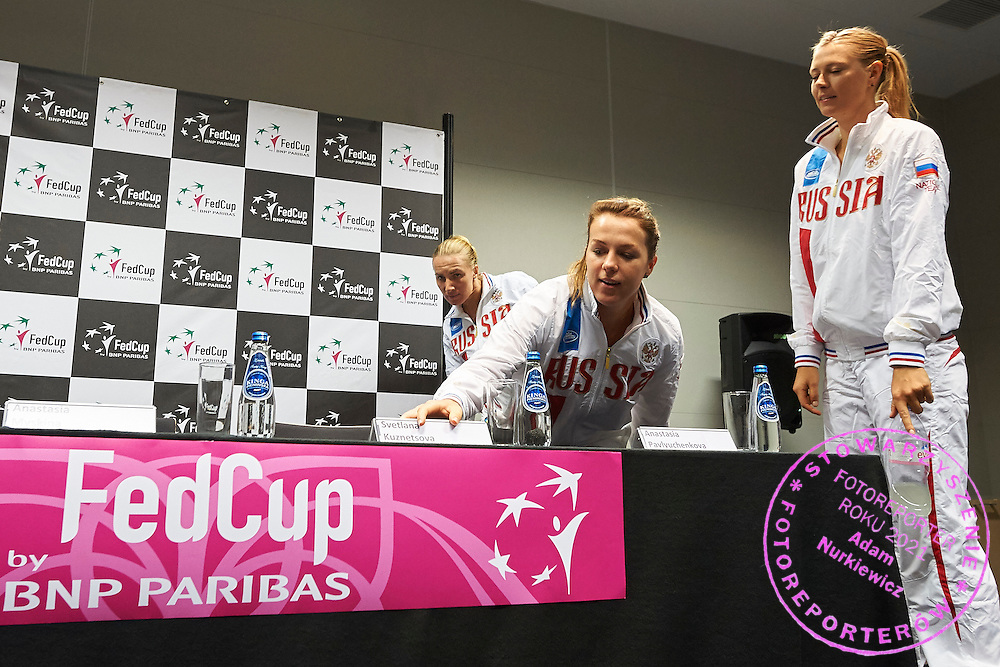 (C) Anastasia Pavyuchenkova and (R) Maria Sharapova both from Russia during official press conference three days before the Fed Cup / World Group 1st round tennis match between Poland and Russia at Krakow Arena on February 4, 2015 in Cracow, Poland<br /> Poland, Cracow, February 4, 2015<br /> <br /> Picture also available in RAW (NEF) or TIFF format on special request.<br /> <br /> For editorial use only. Any commercial or promotional use requires permission.<br /> <br /> Mandatory credit:<br /> Photo by &copy; Adam Nurkiewicz / Mediasport