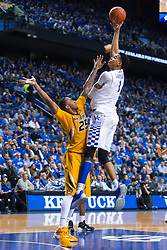 Kentucky forward Skal Labissiere, right, shoots over Missouri forward Russell Woods in the second half.<br /> <br /> The University of Kentucky hosted the University of Missouri, Wednesday, Jan. 27, 2016 at Rupp Arena in Lexington.
